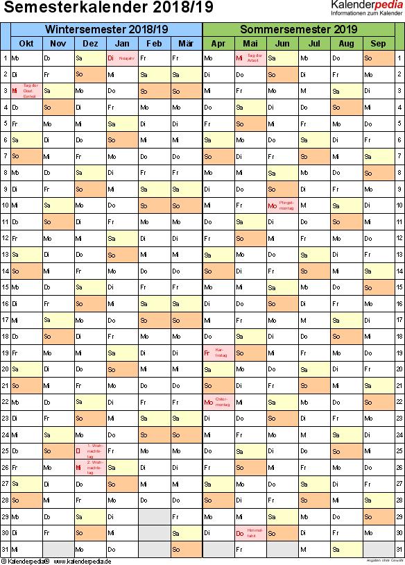 Vorlage 4: Semesterkalender 2018/2019 im Hochformat, 1 Seite