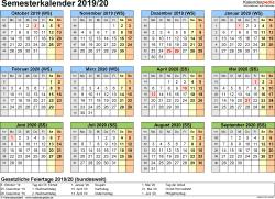 Vorlage 4: Semesterkalender 2019/2020 im Querformat