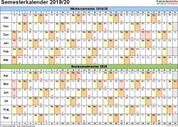 Vorlage 3: Semesterkalender 2019/2020 im Querformat
