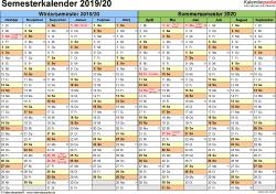Vorlage 1: Semesterkalender 2019/2020 im Querformat
