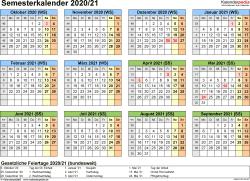 Vorlage 4: Semesterkalender 2020/2021 im Querformat