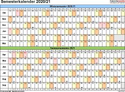 Vorlage 2: Semesterkalender 2020/2021 im Querformat