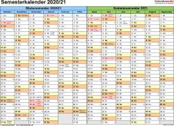Vorlage 1: Semesterkalender 2020/2021 im Querformat