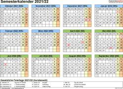 Vorlage 4: Semesterkalender 2021/2022 im Querformat