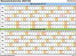 Vorlage 3: Semesterkalender 2021/2022 im Querformat