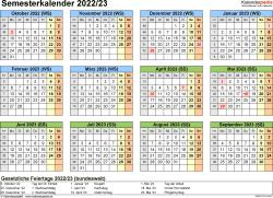 Vorlage 4: Semesterkalender 2022/2023 im Querformat