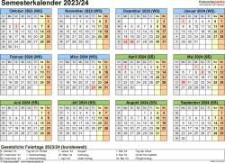 Vorlage 4: Semesterkalender 2023/2024 im Querformat
