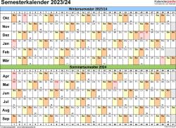 Vorlage 3: Semesterkalender 2023/2024 im Querformat