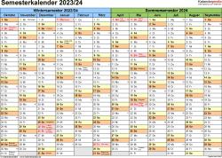 Vorlage 1: Semesterkalender 2023/2024 im Querformat