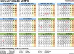 Vorlage 4: Semesterkalender 2024/2025 im Querformat