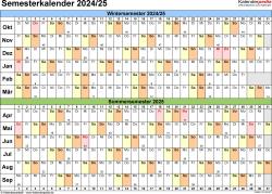 Vorlage 3: Semesterkalender 2024/2025 im Querformat