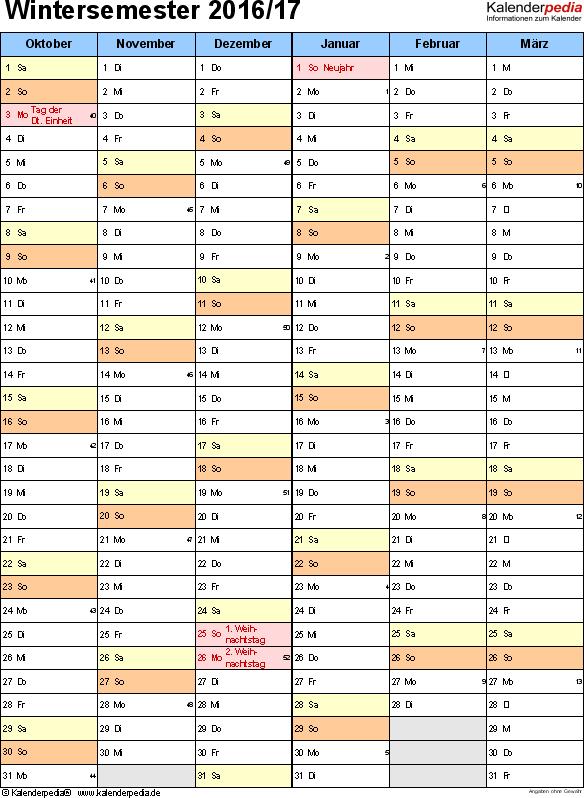 Vorlage 2: Semesterkalender 2016/2017 im Hochformat, 2 Seiten