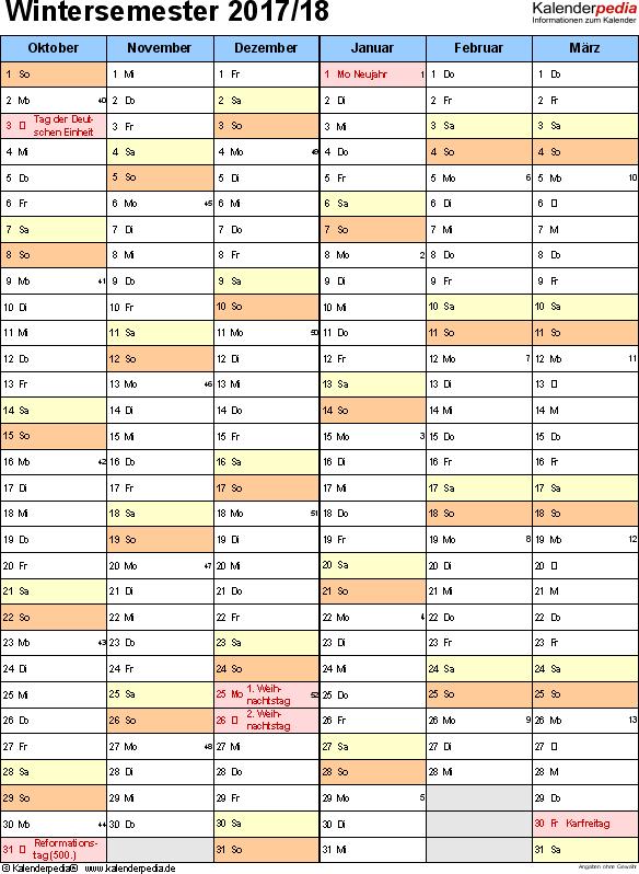 Vorlage 5: Semesterkalender 2017/2018 im Hochformat, 2 Seiten