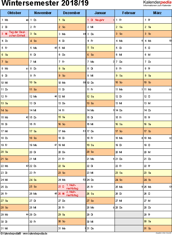 Vorlage 6: Semesterkalender 2018/2019 im Hochformat, 2 Seiten