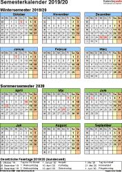 Vorlage 7: Semesterkalender 2019/2020 im Hochformat, Jahresübersicht