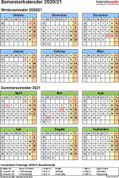 Vorlage 4: Semesterkalender 2020/2021 im Hochformat, Jahresübersicht
