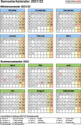 Vorlage 4: Semesterkalender 2021/2022 im Hochformat, Jahresübersicht