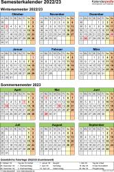 Vorlage 8: Semesterkalender 2022/2023 im Hochformat, Jahresübersicht