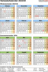 Vorlage 8: Semesterkalender 2023/2024 im Hochformat, Jahresübersicht