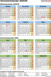 Vorlage 8: Semesterkalender 2024/2025 im Hochformat, Jahresübersicht