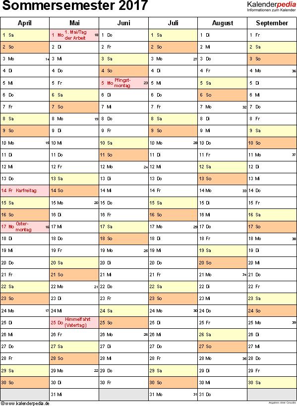 Excel-Vorlage für Semesterplaner Sommersemester 2017 im Hochformat