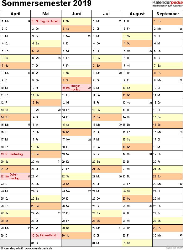 Excel-Vorlage für Semesterplaner Sommersemester 2019 im Hochformat