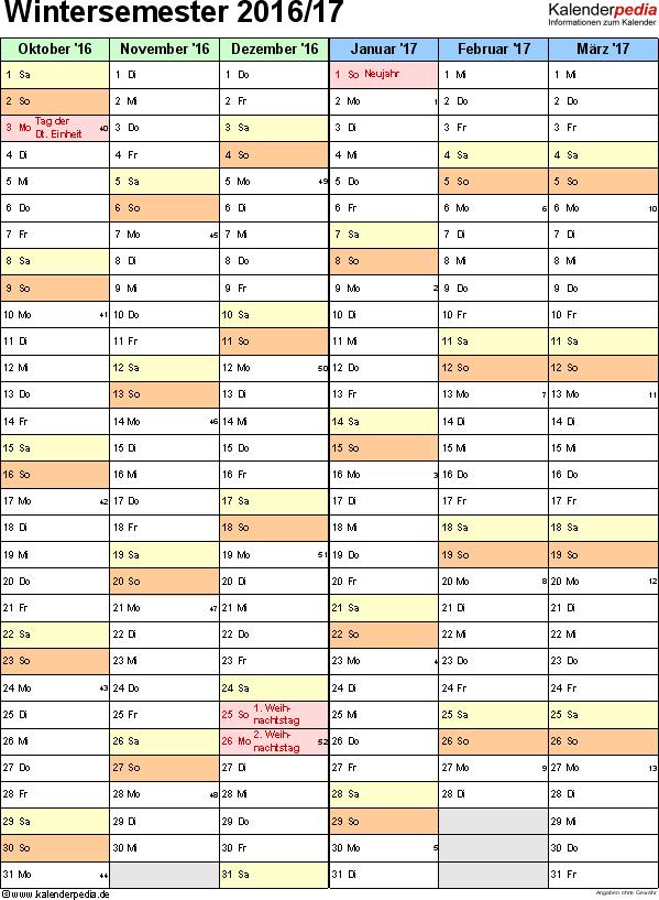 Excel-Vorlage für Semesterkalender Wintersemester 2016/17 im Hochformat