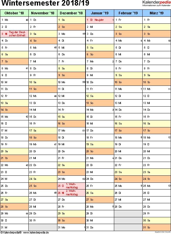 Excel-Vorlage für Semesterkalender Wintersemester 2018/19 im Hochformat