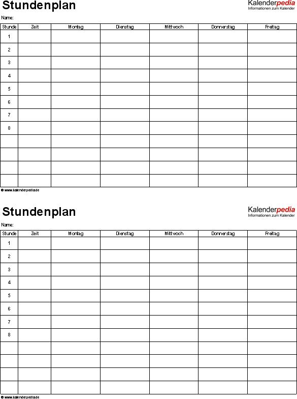 stundenplanvorlagen pdf zum download amp ausdrucken kostenlos