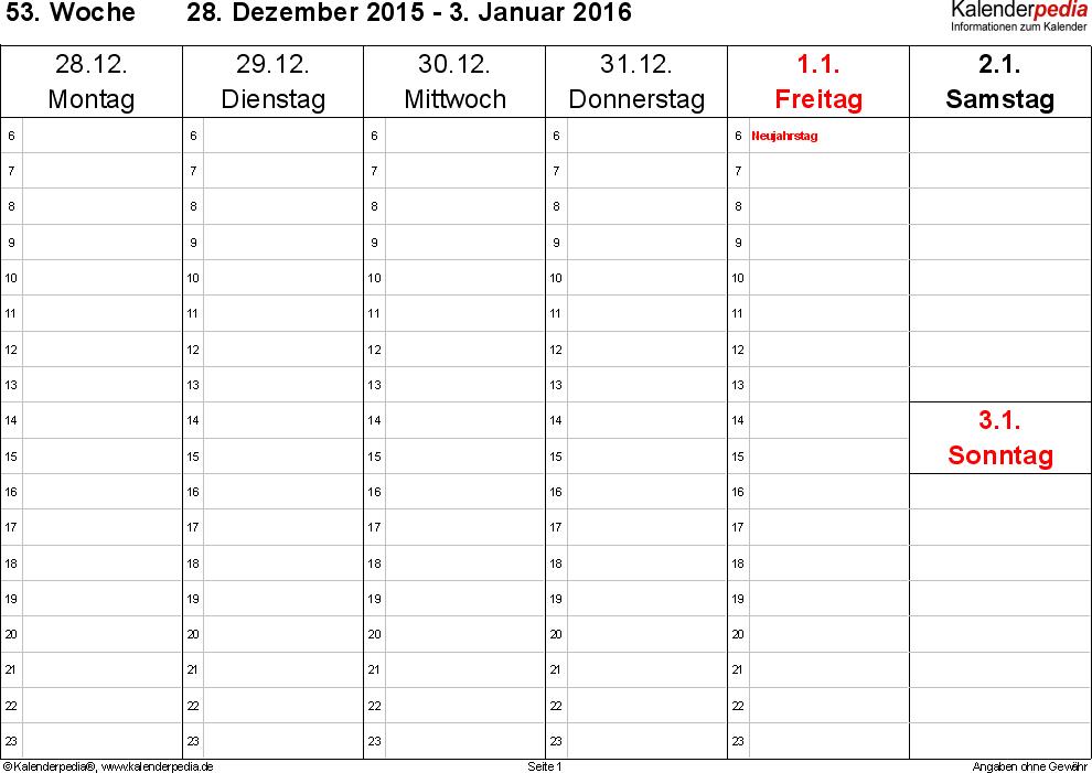 Vorlage 5: Wochenkalender 2016 als PDF-Vorlage, Querformat, 53 Seiten (1 Woche auf 1 Seite), Zeitmanagement-Layout, Samstag & Sonntag in einer Spalte