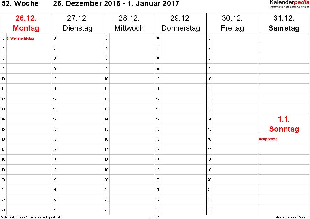 Vorlage 5: Wochenkalender 2017 als Word-Vorlage, Querformat, 53 Seiten (1 Woche auf 1 Seite), Zeitmanagement-Layout, Samstag & Sonntag in einer Spalte