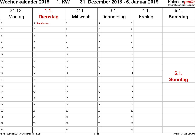 Vorlage 5: Wochenkalender 2019 als Excel-Vorlage, Querformat, 53 Seiten (1 Woche auf 1 Seite), Zeitmanagement-Layout, Samstag & Sonntag in einer Spalte