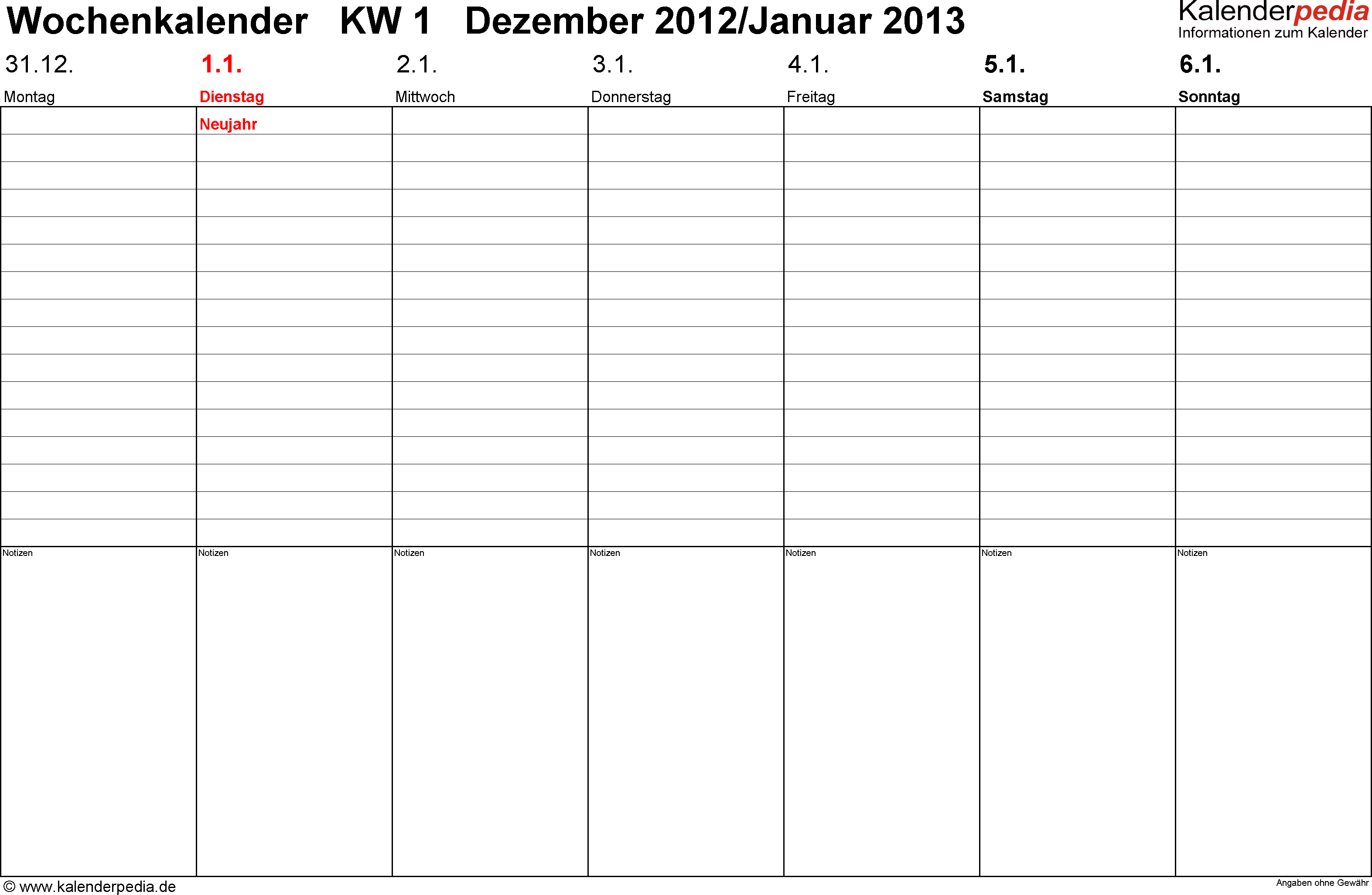 Vorlage 2: Wochenkalender 2013 als PDF-Vorlage, Querformat, Tage nebeneinander, 53 Seiten (1 Woche auf 1 Seite)