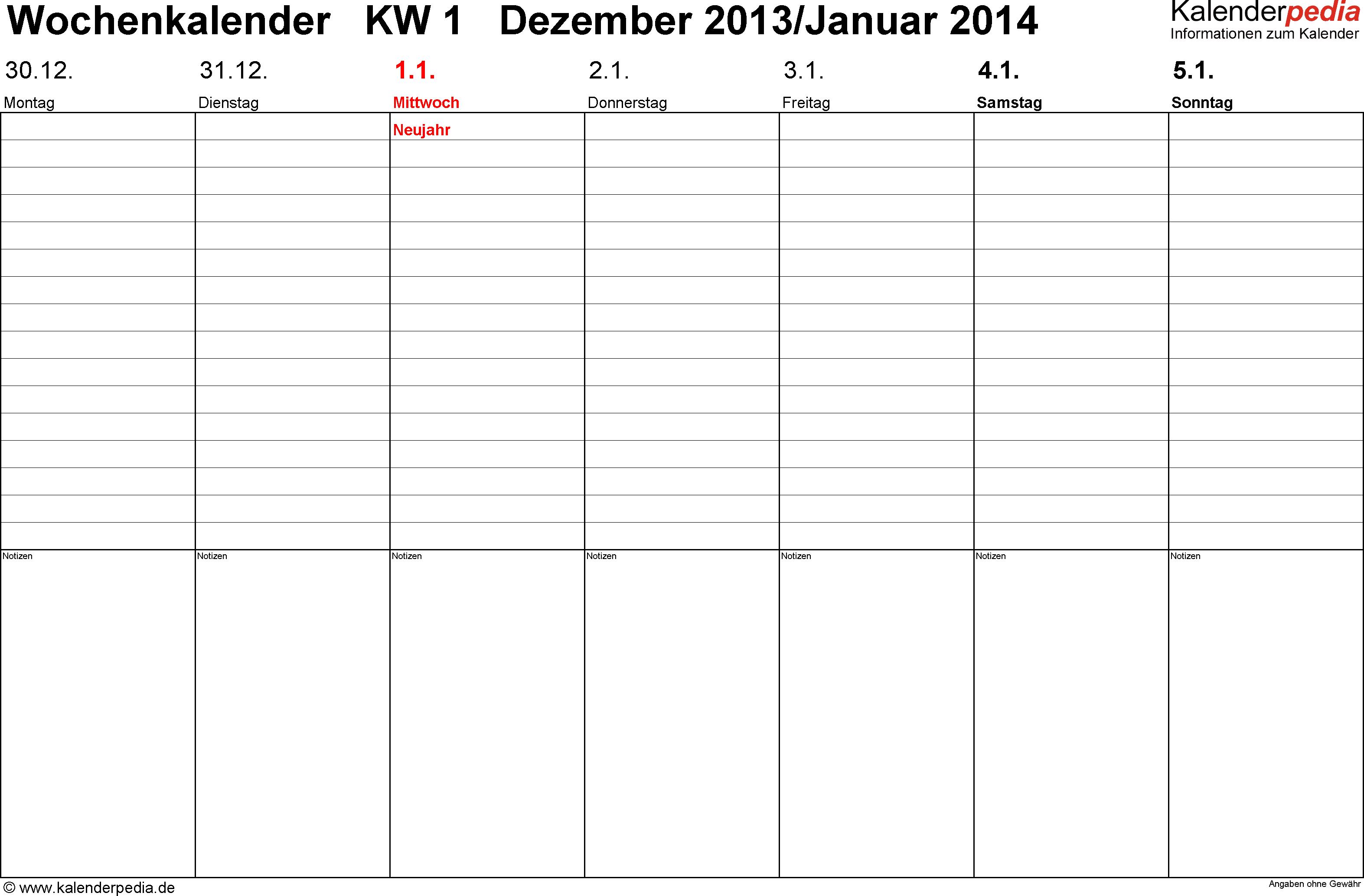 Vorlage 2: Wochenkalender 2014 als Excel-Vorlage, Querformat, Tage nebeneinander, 53 Seiten (1 Woche auf 1 Seite)