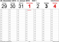 Vorlage 4: Wochenkalender 2015 als Excel-Vorlage, Querformat, 53 Seiten (1 Woche auf 1 Seite)