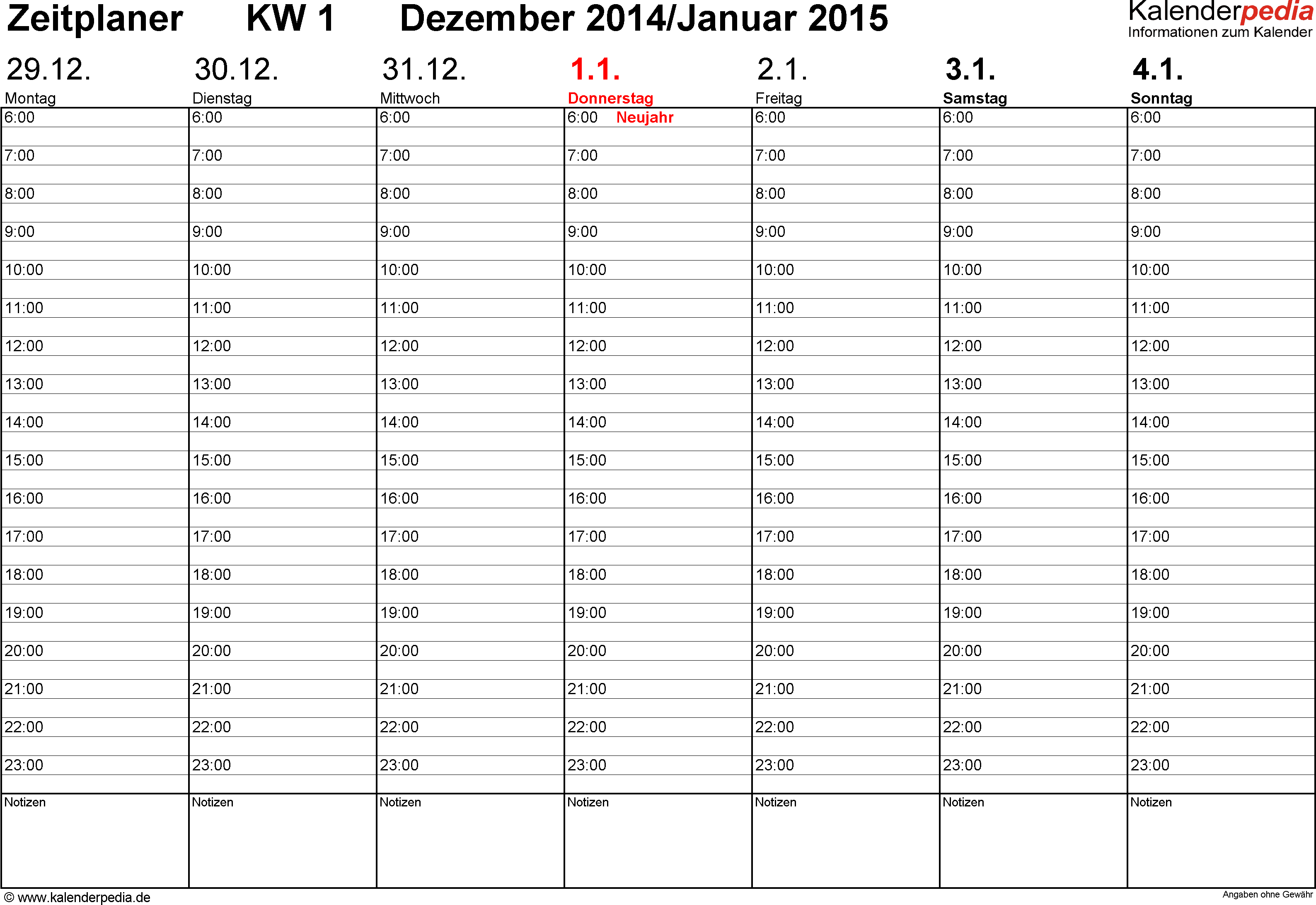 Vorlage 3: Wochenkalender 2015 als Excel-Vorlage, Zeitplaner-Layout, Querformat, 53 Seiten (1 Woche auf 1 Seite)