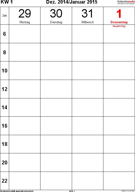 Vorlage 12: Wochenkalender 2015 als PDF-Vorlage, Hochformat, Tage nebeneinander, 106 Seiten (1 Woche auf 1 Seite)