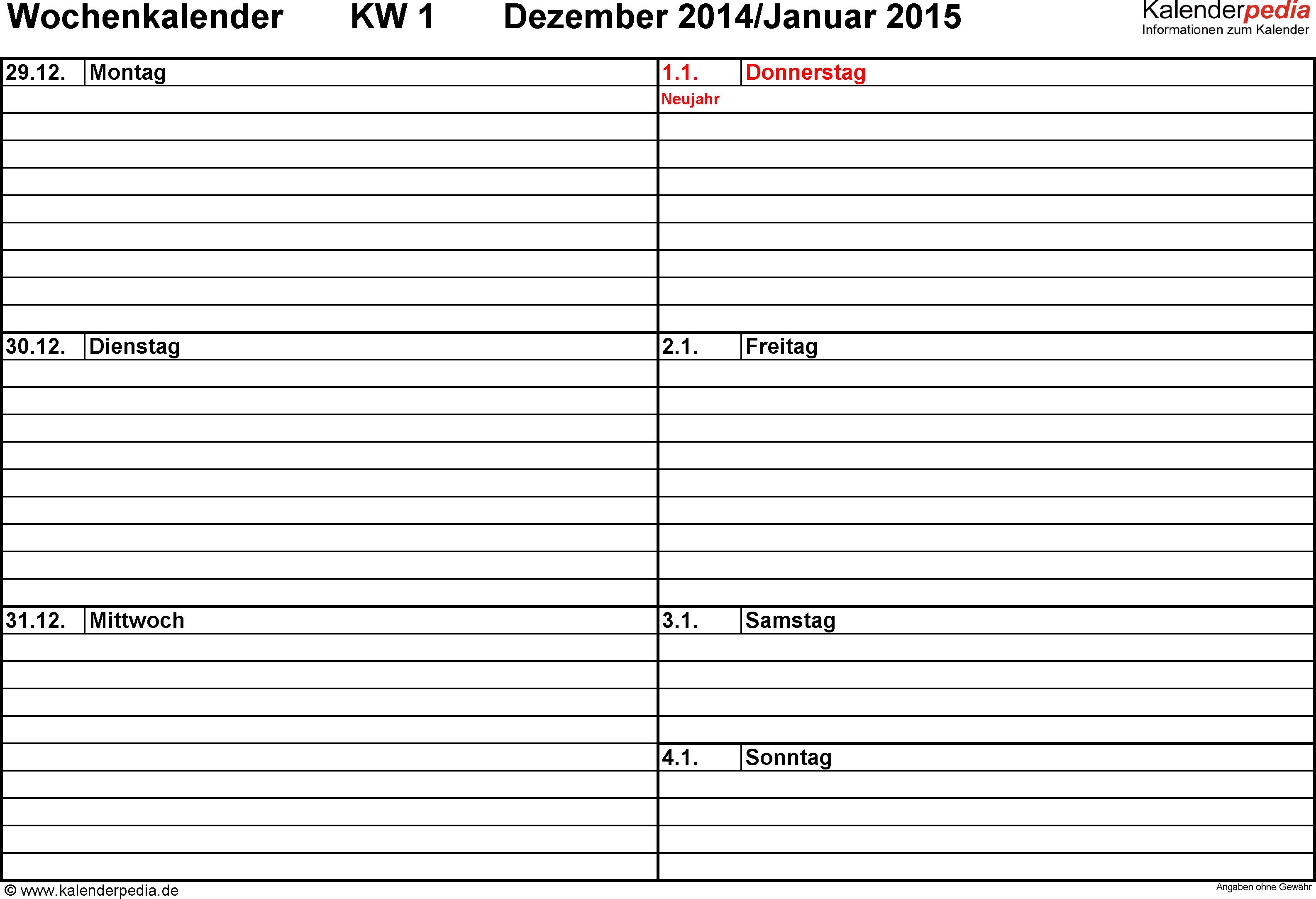 Vorlage 1: Wochenkalender 2015 als Excel-Vorlage, Querformat, Tage nebeneinander, 53 Seiten (1 Woche auf 1 Seite)