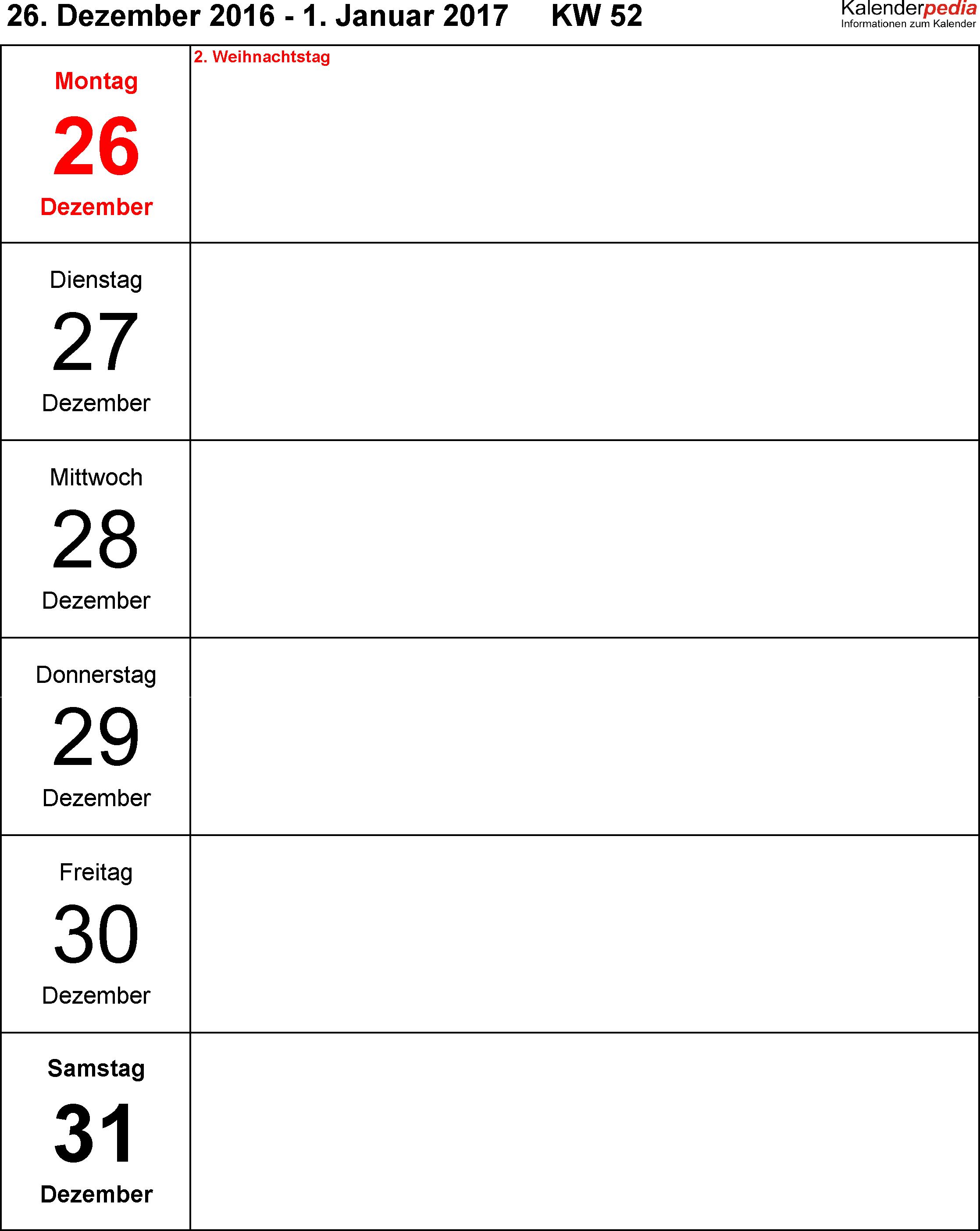 Vorlage 10: Wochenkalender 2017 als PDF-Vorlage, Hochformat, Tage untereinander, 53 Seiten (1 Woche auf 1 Seite)