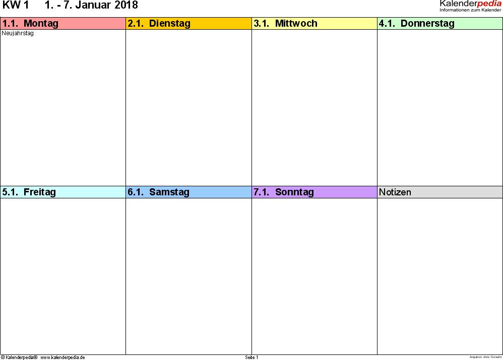 Vorlage 6: Wochenkalender 2018 als PDF-Vorlage, Querformat, 53 Seiten (1 Woche auf 1 Seite), in den Regenbogenfarben, gut geeignet als Tagebuch