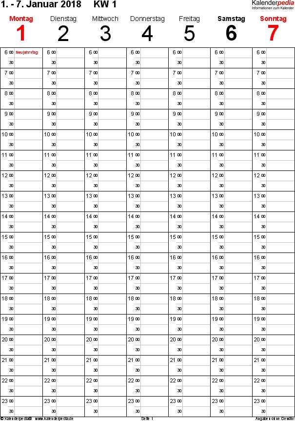 Vorlage 8: Wochenkalender 2018 als PDF-Vorlage, Hochformat, 53 Seiten (1 Woche auf 1 Seite), Tage nebeneinander, Zeitmanagement-Layout