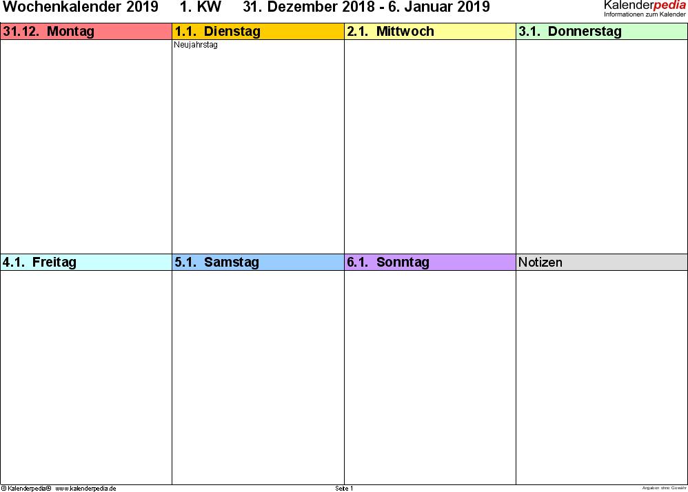 Vorlage 6: Wochenkalender 2019 als Word-Vorlage, Querformat, 53 Seiten (1 Woche auf 1 Seite), in den Regenbogenfarben, gut geeignet als Tagebuch