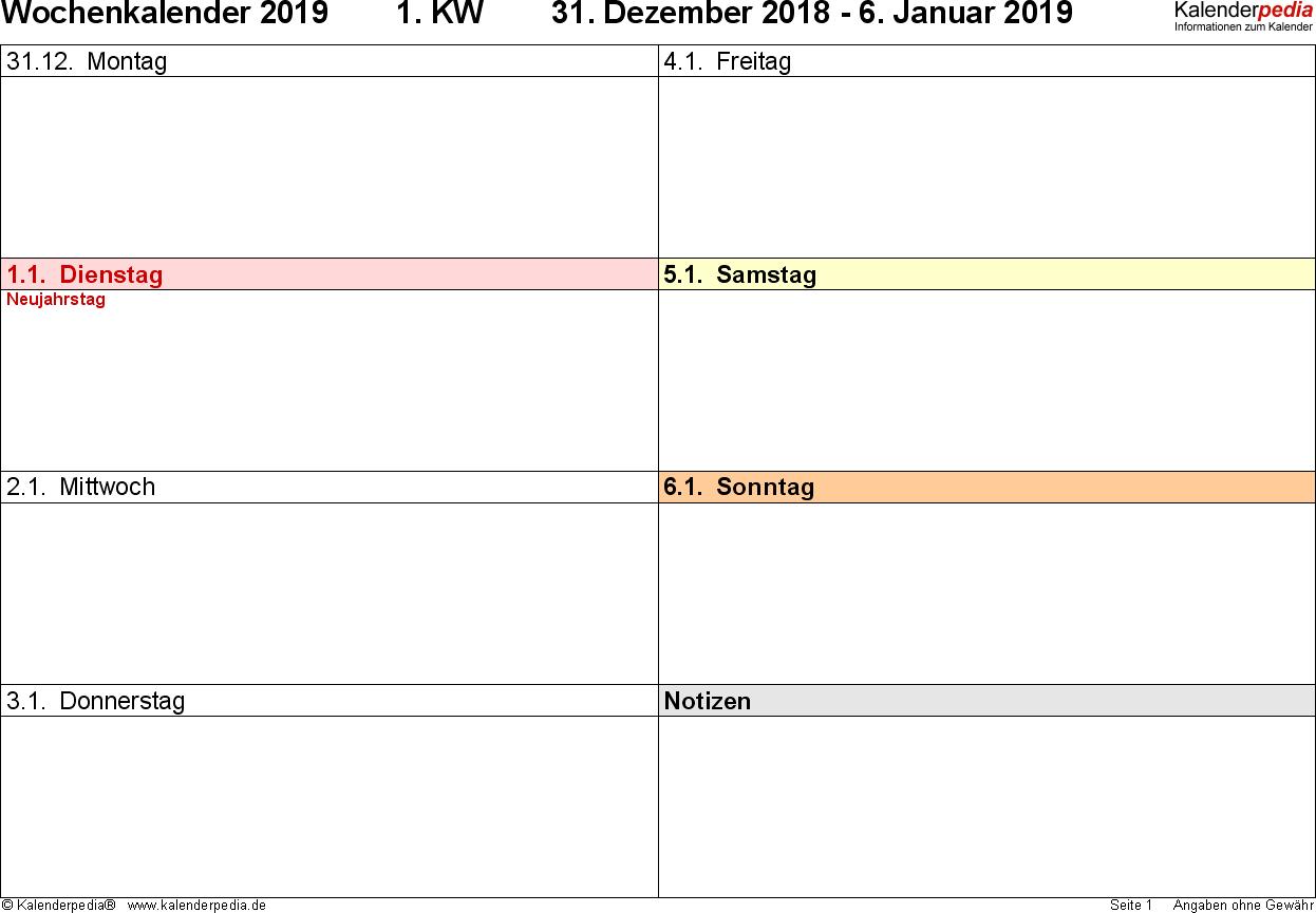 Vorlage 7: Wochenkalender 2019 als Excel-Vorlage, Querformat, 53 Seiten (1 Woche auf 1 Seite), 2 Spalten, gut geeignet als Tagebuch