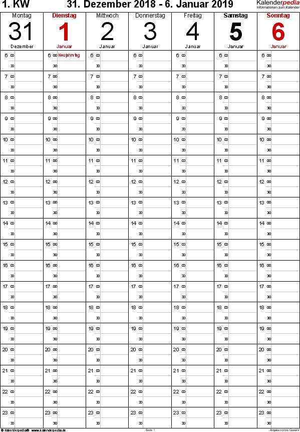 Vorlage 8: Wochenkalender 2019 als PDF-Vorlage, Hochformat, 53 Seiten (1 Woche auf 1 Seite), Tage nebeneinander, Zeitmanagement-Layout