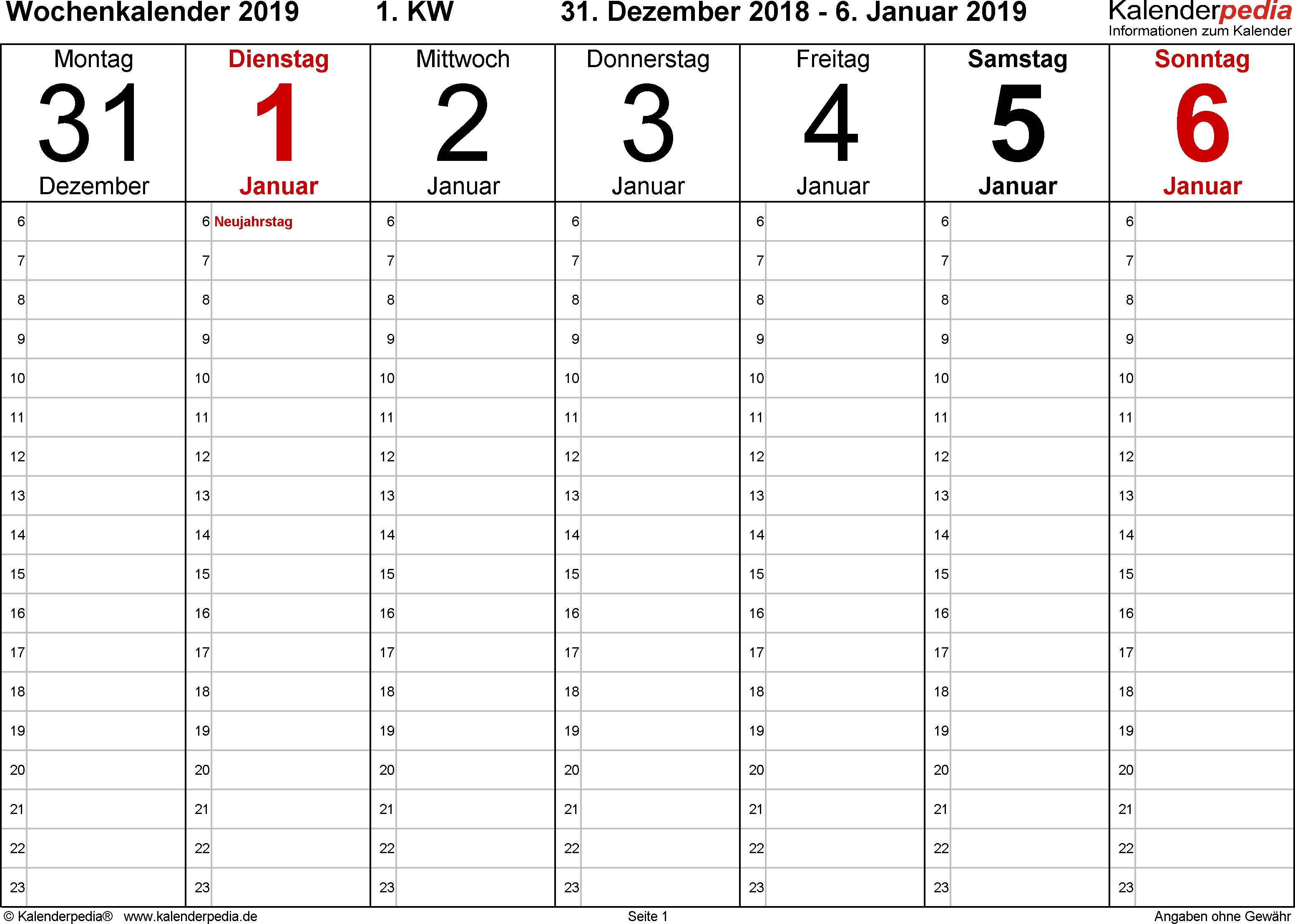 Vorlage 4: Wochenkalender 2019 als Excel-Vorlage, Querformat, 53 Seiten (1 Woche auf 1 Seite)