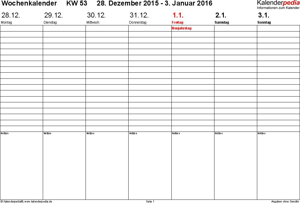 Vorlage 2: Wochenkalender 2016 als Excel-Vorlage, Zeitmanagement-Layout, Querformat, 53 Seiten (1 Woche auf 1 Seite)