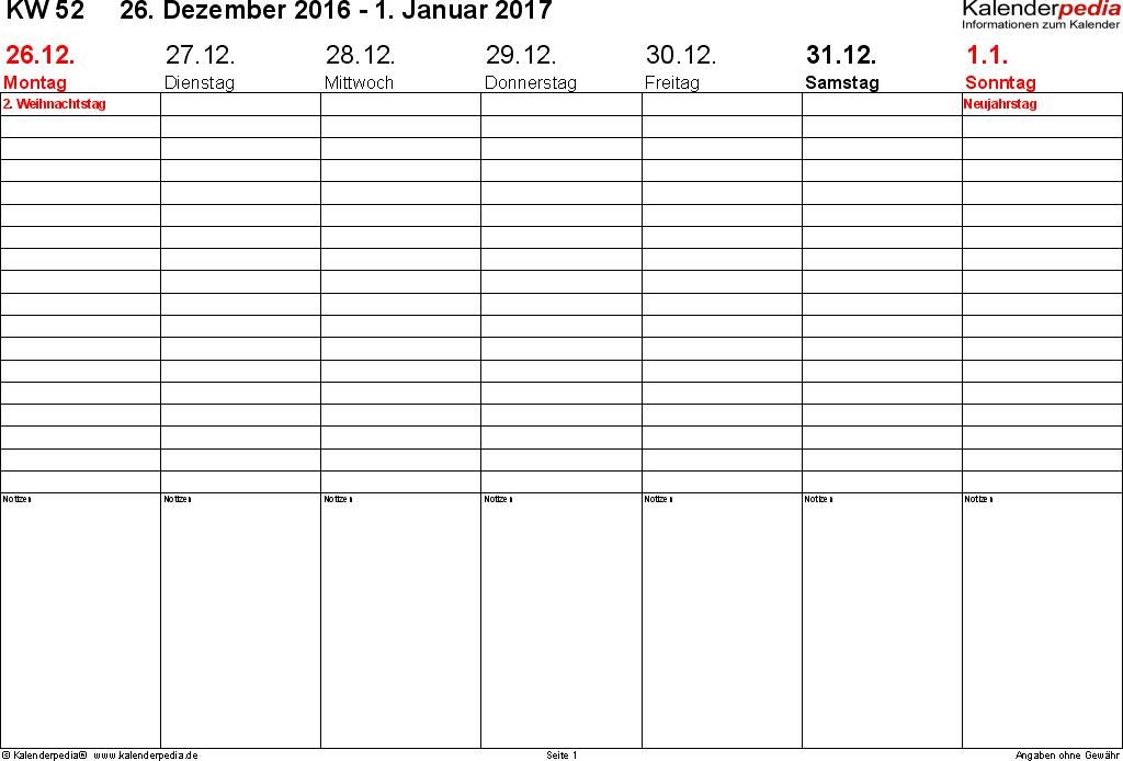 Vorlage 2: Wochenkalender 2017 als Word-Vorlage, Zeitmanagement-Layout, Querformat, 53 Seiten (1 Woche auf 1 Seite)
