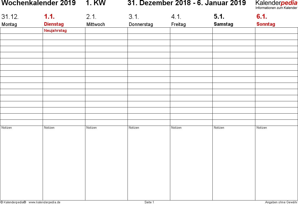 Vorlage 2: Wochenkalender 2019 als Word-Vorlage, Zeitmanagement-Layout, Querformat, 53 Seiten (1 Woche auf 1 Seite)