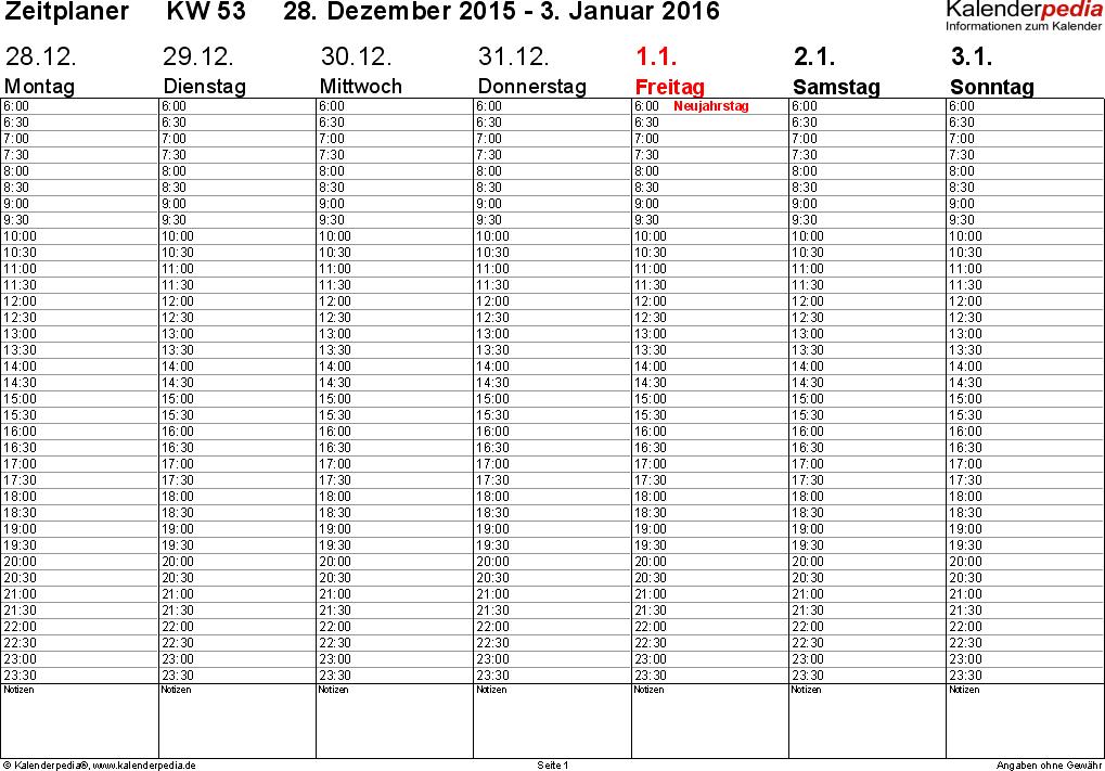 Vorlage 3: Wochenkalender 2016 als Excel-Vorlage, Zeitplaner-Layout, Querformat, 53 Seiten (1 Woche auf 1 Seite)