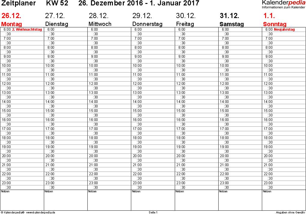 Vorlage 3: Wochenkalender 2017 als PDF-Vorlage, Zeitplaner-Layout, Querformat, 53 Seiten (1 Woche auf 1 Seite)